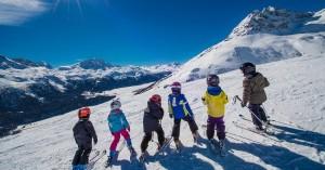 Niños-esquiando