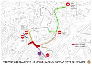 Afectacions de trànsit per les obres de la ronda Moreta